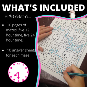 Math mazes to practice 12/24 hour time analogue clock and digital