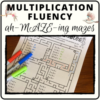 Math mazes for multiplication times tables and problem solving