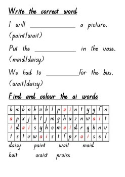 ai Digraph Printable Worksheet #2 - Words and Pictures Literacy Builder Series