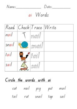 ai Digraph Printable Worksheet Words and Pictures Literacy