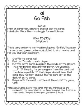 ai Go Fish Digraph/Phonics Game
