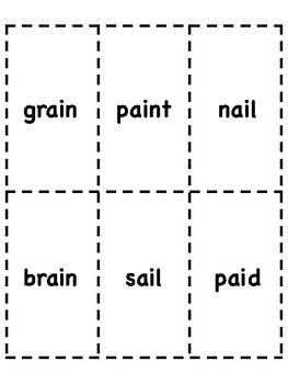 ai Vowel Digraph Bingo [10 playing cards]