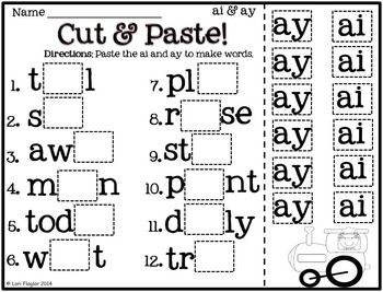 ai and ay Word Work Activites