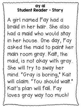 ai ay - Phonics Fluency Assessment