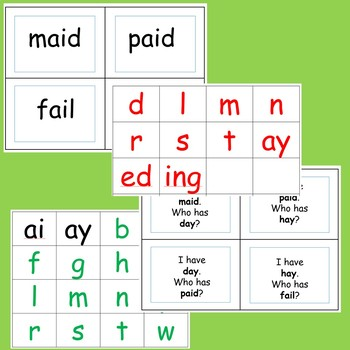 ai ay word cards, game, letter cards