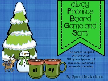 ai/ay Phonics Literacy Center (Board Game and Sort- Winter Themed)