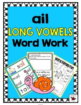 'ail' Word Family Long Vowel Word Work