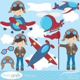 airplane pilot clipart commercial use, vector graphics, digital clip art - CL526
