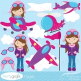 airplane pilot clipart commercial use, vector graphics, digital clip art - CL535