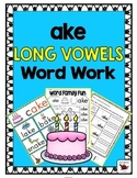 'ake' Word Family Long Vowel Word Work