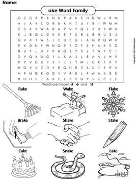 ake Word Family Word Search/ Coloring Sheet (Phonics Worksheet)