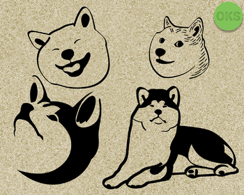 akita SVG cut files, DXF, vector EPS cutting file instant download for cricut