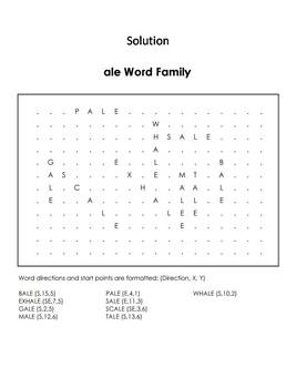 ale Word Family Word Search/ Coloring Sheet (Phonics Worksheet)