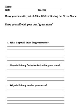 alice walker and the green stone activity sheet