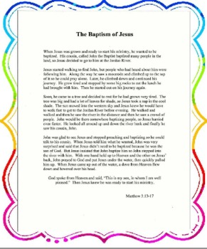 """THE BAPTISM OF JESUS"" 5p TEACHING UNIT FOR ELEMENTARY STUDENTS"
