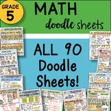 5th Grade Math Interactive Notebook DOODLE Sheets  ~ EASY