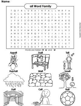 all Word Family Word Search/ Coloring Sheet (Phonics Worksheet)
