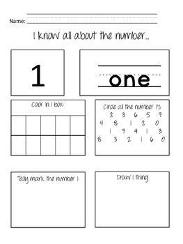 all about the number worksheets