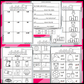 all, ell, ill, oll, ull Worksheets: Cut and Paste Sorts, Cloze, Read & Draw, etc
