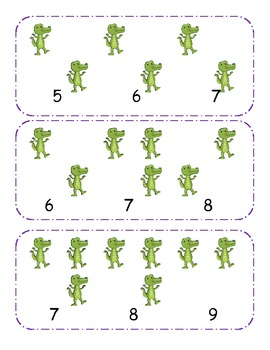 alligator Counting clip cards