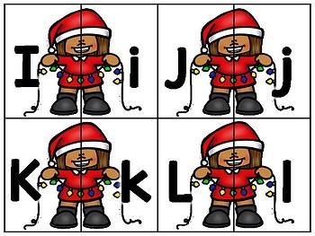alphabet 2 part matching puzzles: christmas lights theme