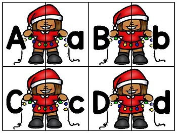 alphabet 2 part matching puzzles: christmas lights theme