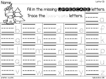 alphabet 2 part matching puzzles: christmas unicorns theme