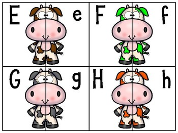alphabet 2 part matching puzzles: colorful cows theme