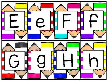 alphabet 2 part matching puzzles: colorful pencils theme