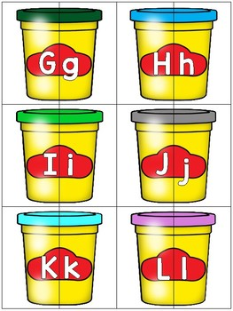 alphabet 2 part matching puzzles: colorful playdoh theme
