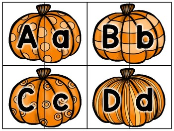 alphabet 2 part matching puzzles: pumpkin theme