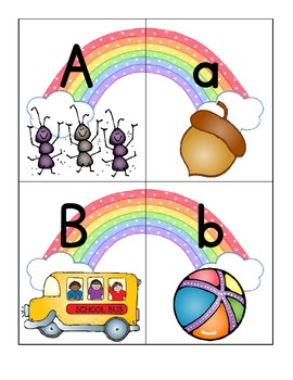 alphabet 2-part rainbow puzzles: matching upper to lower c
