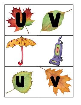 alphabet 3-part matching cards_fall leaves theme plus bonus