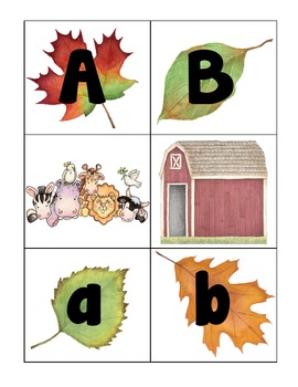 alphabet 3-part matching cards_fall leaves theme plus bonus