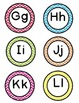 alphabet circles in upper and lowercase with chevron background