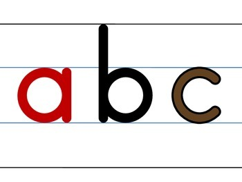 alphabet letters in writing lines