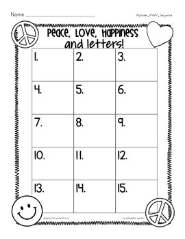 alphabet sequence read and write the room: peace love happiness and letters