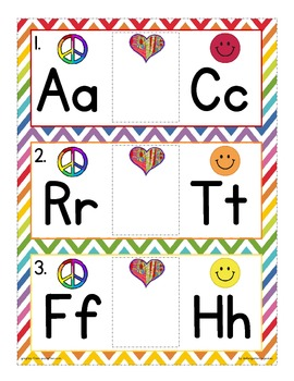 alphabet sequence read and write the room: peace love happ