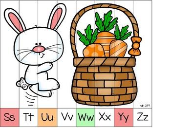 alphabet strip puzzle: bunnies and carrots theme