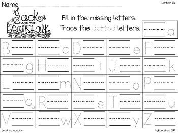 alphabet strip puzzle_jack and the beanstalk theme