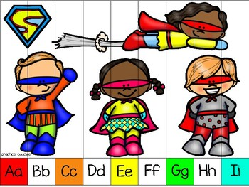 alphabet strip puzzle_super hero kids + bonus numeral cards