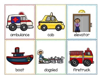 alphabet: transportation theme_2-part puzzles, vocab cards