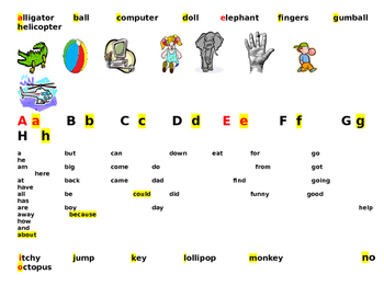 alphabet with sight words