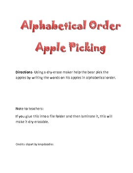 alphabetical order apple picking