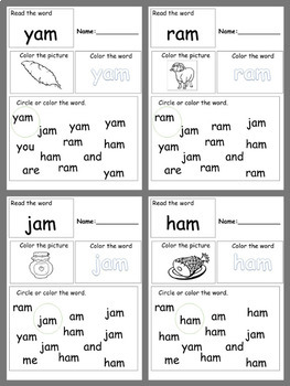 am CVC word family hands-on worksheet packet differentiation for ESE/PreK/K/1st