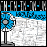 an, en, in, un word family Worksheets: Cut and Paste Sorts, Cloze, Read & Draw!