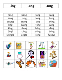 ang, ing, ung Word and Picture Sort