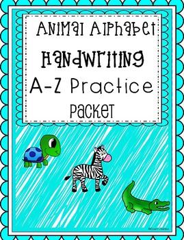 animal alphabet a-z handwriting