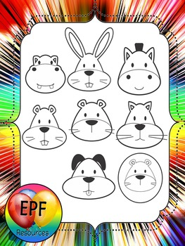 animal faces clipart