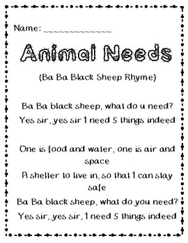 animal needs song